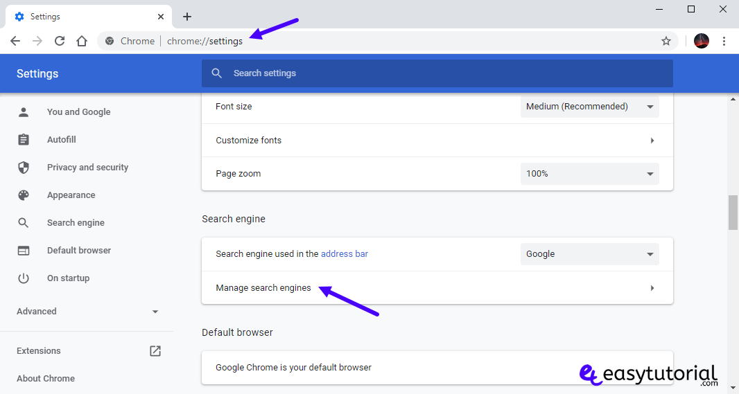 Google Chrome 1 Settings Manage Search Engines