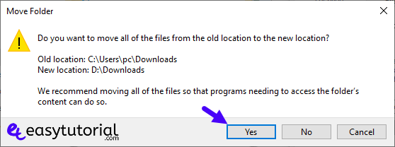 Change Downloads Location Hard Disk 3 Yes Move Location