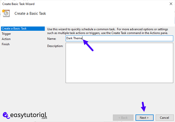 Enable Dark Mode Windows Auto 6 Create Basic Task Name