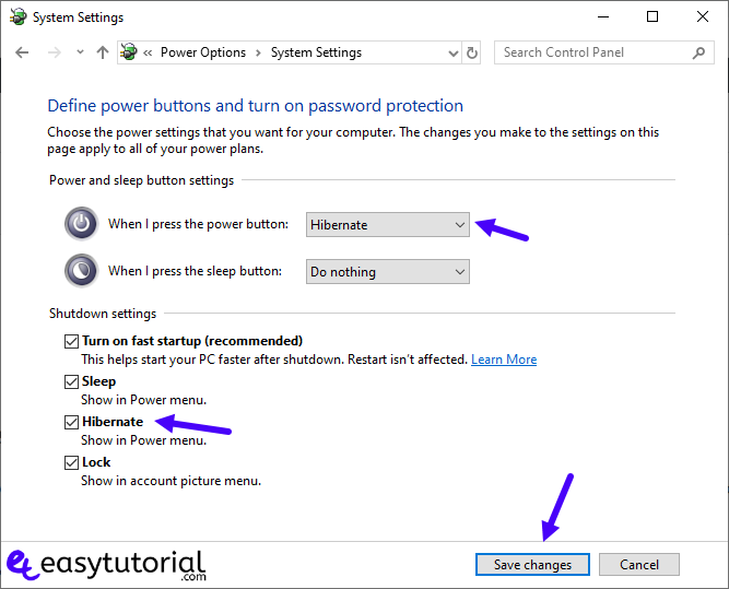 Enable Hibernation Windows 6 Power Options System Settings