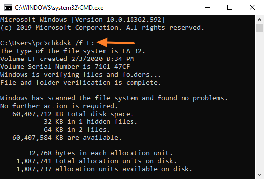 Chkdsk F Cmd Command Prompt