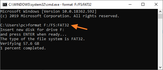 Format F Fs Fat32 Cmd Command Prompt Windows