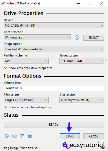 Create Bootable Windows 10 Usb Drive 4 Start Rufus Iso