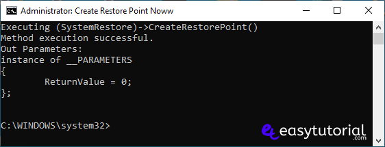 Create Restore Point Manual Windows 10 0