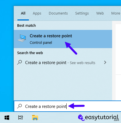 Create Restore Point Manual Windows 10 1