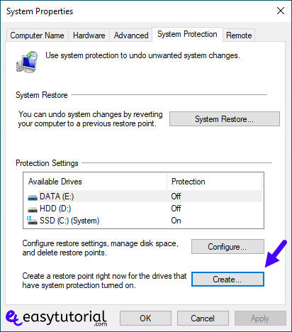 Create Restore Point Manual Windows 10 2