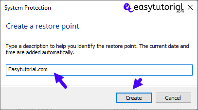 Create Restore Point Manual Windows 10 3