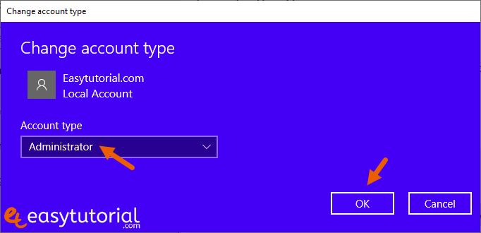 Create User Account Admin Windows 10 7 Change Account Type Administrator