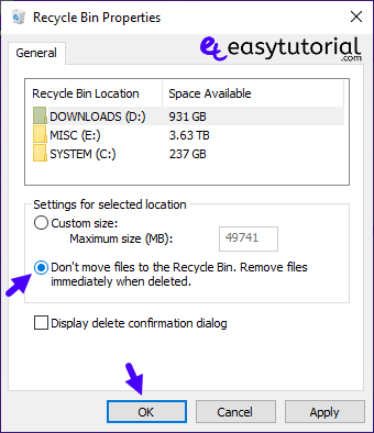 Disable Delete Remove Recycle Bin Windows 4