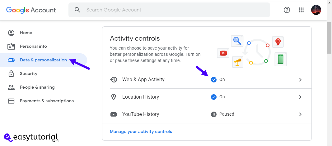Disable Google Search Chrome History 4 Web App Activity
