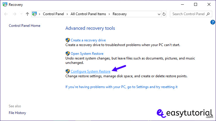 Extend Shrink System Partition Windows Size 26 Configure System Restore