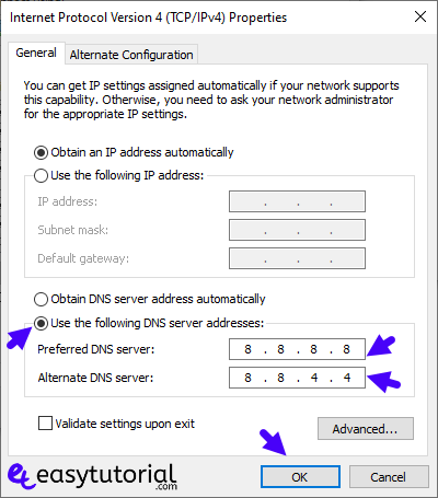 No Internet Secured Fix 19 Use Following Dns Server Addresses Google