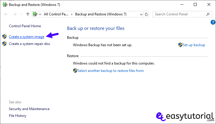 Backup Full System Image Windows Recovery 5 Create System Image