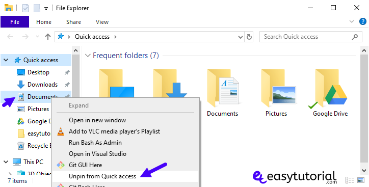 Clean Clear Fix Organize Unpin Pin Quick Access Windows 10 4 Unpin From Quick Access