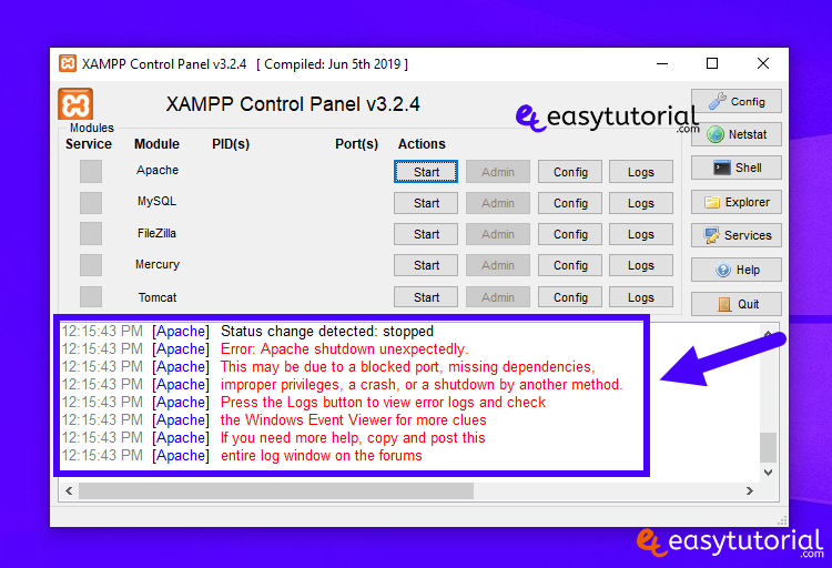 Apache Xampp Problem Port 80 443 In Use Not Starting Fixed Solved Solution 1 Control Panel
