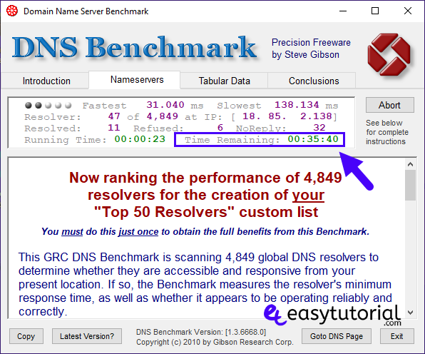 Dns Benchmark Speed Up Internet Bandwidth Network Domain Name System Server 4 Time Remaining