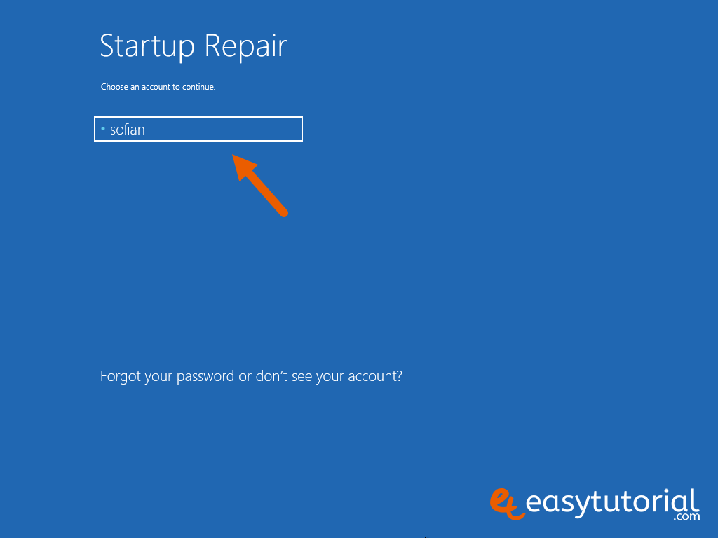 Fix Boot Startup Mbr Windows 10 Steps 4 Startup Repair Choose Account