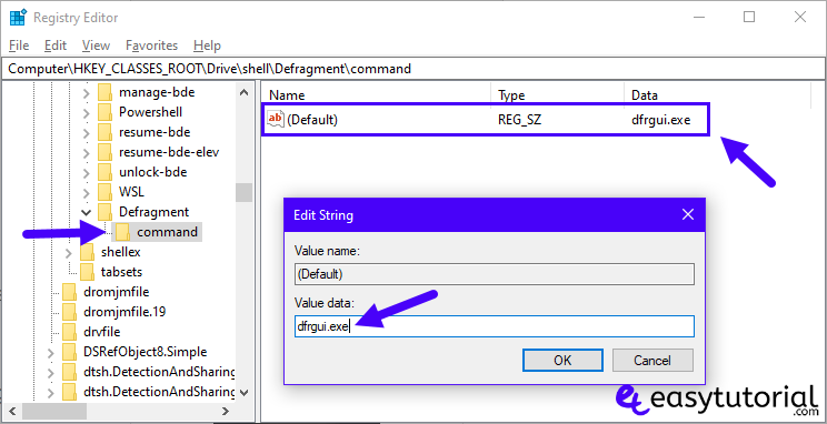 Defragment Hard Drive Disk Defgrag Context Menu Right Click This Pc 5 Dfrgui Exe Edit String Registry Editor