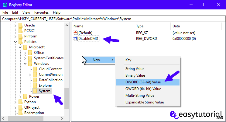 Disable Command Prompt Cmd Windows 10 7 New Dword Value 32 Bit Registry Editor