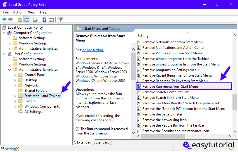 Disable Run Prompt Windows 10 2 Local Group Policy Editor Remove Run Menu Start