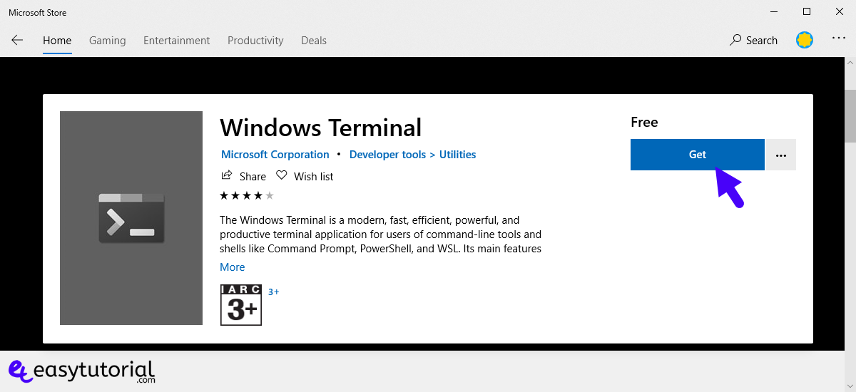 Install New Windows Terminal Windows 10 Ubuntu Cmd Powershell Free Microsoft Store 3 Get