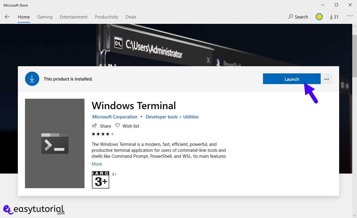 Install New Windows Terminal Windows 10 Ubuntu Cmd Powershell Free Microsoft Store 4 Launch