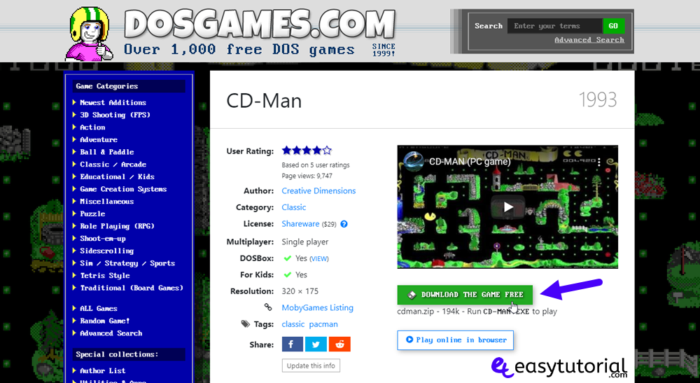 Play Dos Games Windows 10 5 Download Pacman Cd Man Game