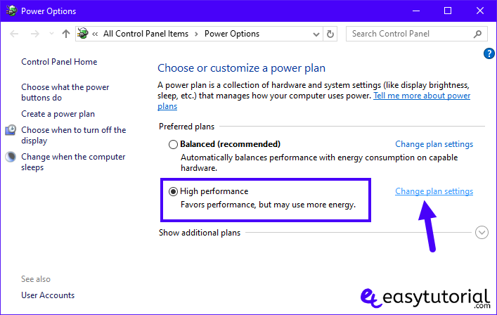Speed Up Windows 10 Pc Performance Improve Increase Computer Free Tips 5 High Performance Change Plan Settings