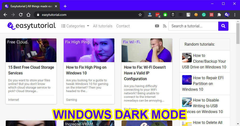Dark Mode Google Chrome Reading Webpages Website Eyes 5 Windows Dark Mode
