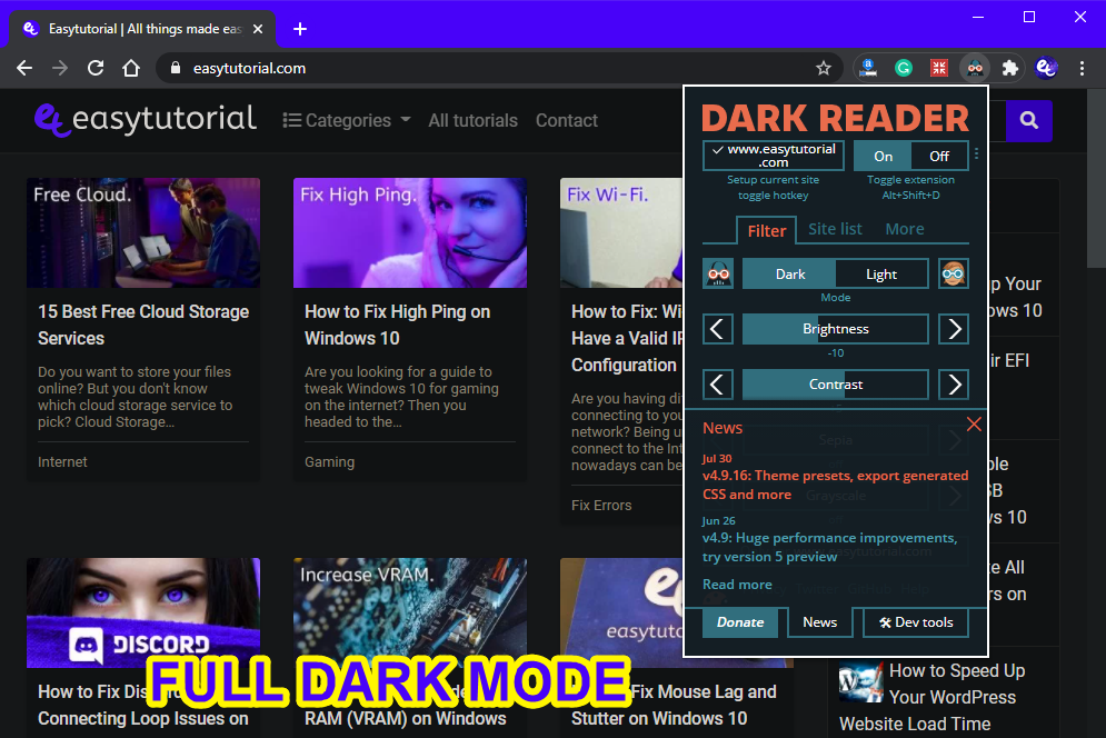 Dark Mode Google Chrome Reading Webpages Website Eyes 7 Full Dark Mode